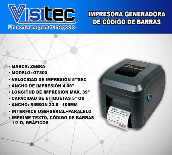 Impresora Generadora de Código de Barras GT 800